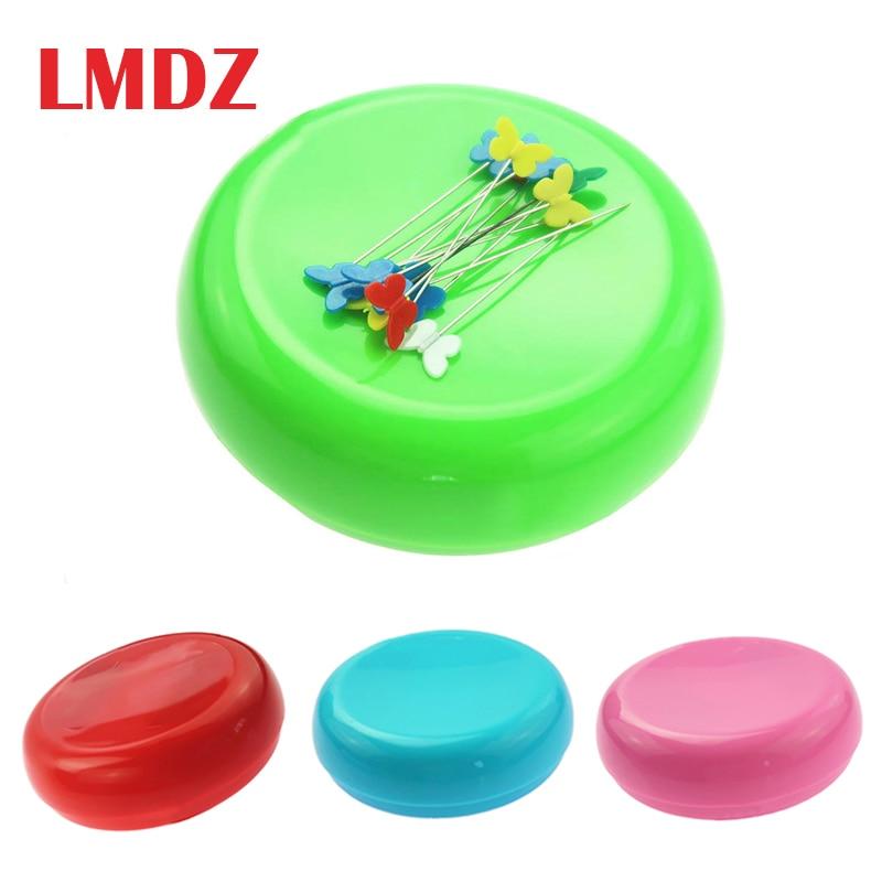 LMDZ 1Pcs DIY Round Shape Magnetic Needle Pin Cushion Sewing Sewing Magnetic Box Needles Storage Pins Case for Needlework