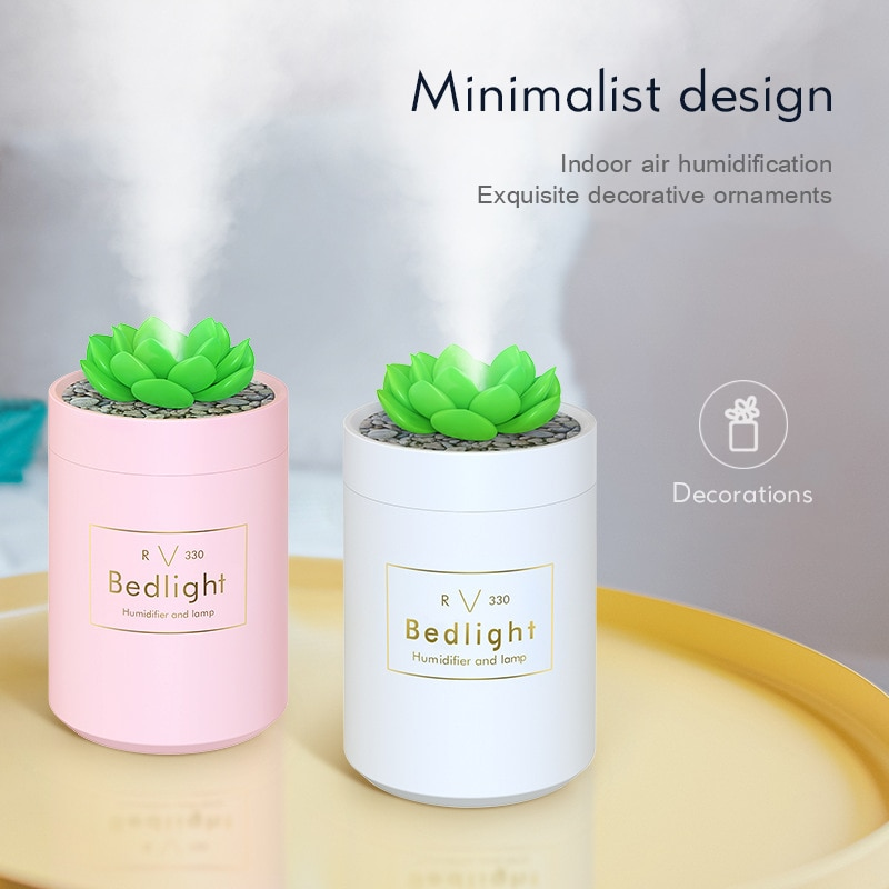 USB Succulent Plants Aroma Humidifier Ultrasonic Air Humidifier Aromatherapy Oil Diffuser Mini LED Night Light Air Diffusers 40D elephant humidifier usb charging colorful night light mini humidifier aromatherapy machine