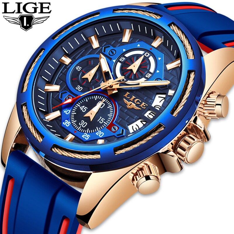 LIGE мужские часы, лучший бренд, роскошные часы с силиконовым ремешком, мужские деловые кварцевые часы, мужские военные спортивные часы, мужск...