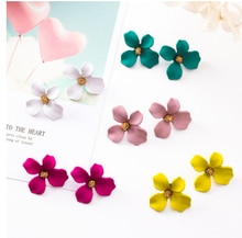 달콤한 신선하고 간단한 페인트 꽃 귀걸이 성격 패션 조커 불규칙한 꽃잎 귀걸이 여성의 한국어 버전