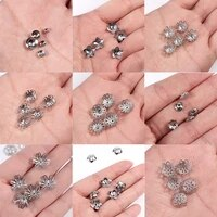 30pcslots stainless steel vintage retro flower bead caps end caps flower pattern silver color jewelry making jewelry findings