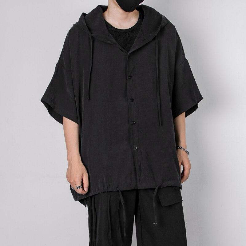 قميص رجالي كاجول بقلنسوة نمط ياماموتو داكن تسريحة مصمم ملابس فضفاضة بقلنسوة قميص بخمس نقاط كم