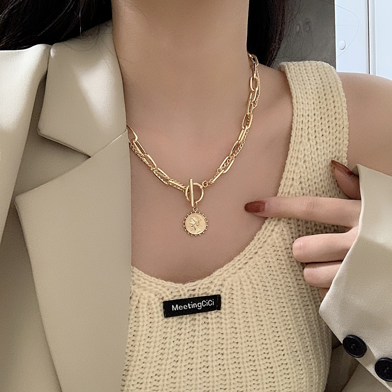 Word buckle Necklace female summer ins cool style punk clavicle Chain Gold neck chain hip hop style decorative Necklace korea new clavicle chain necklace lace clavicle chain necklace female collar wholesale