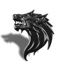 8*6 cm tête de loup Logo voiture autocollant décoration accessoires bête métal 3D loup décalque carrosserie emblème Badge garniture