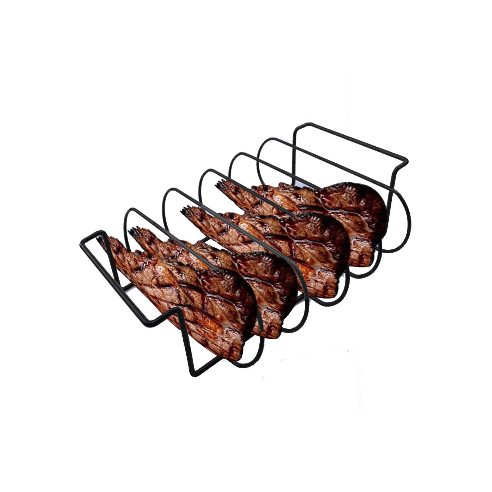 Bife de Carne Torrador com Gotejamento Churrasco Grill Rack Inoxidável Baquetas Titular Fumante Forno Pan Asa Aço