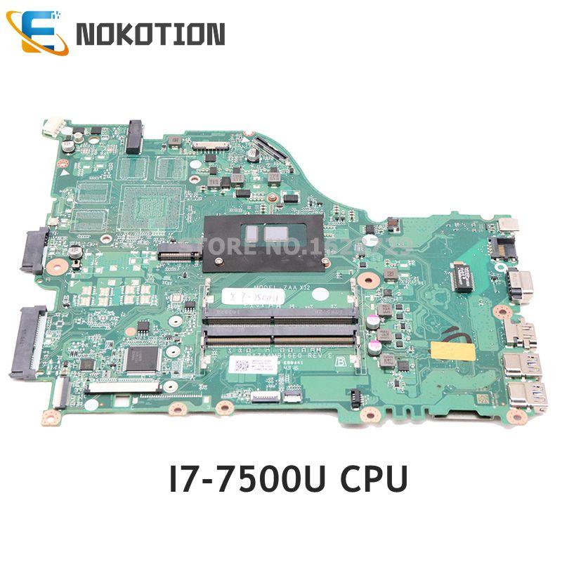 NOKOTION لشركة أيسر أسباير F5-575G اللوحة المحمول NBGEP11002 NBGEP110026 DAZAAMB16E0 SR2ZV I7-7500U CPU DDR4 كامل اختبار