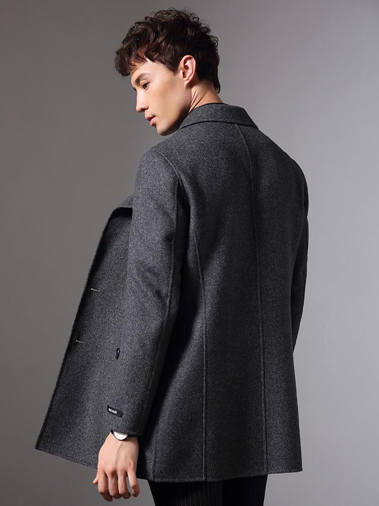 Hecho a mano, doble-lado de lana de otoño e invierno chaqueta hombres chaqueta de 100% abrigos de lana Abrigo largo cortaviento de talla grande Abrigo Hombre MY1236