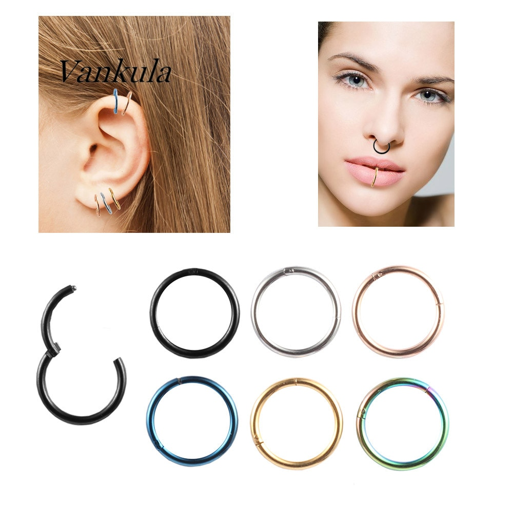 Vankula  2PCS 6-14mm Small Thin Surgical Steel Nose Lip ear Open Hoop Ring 0 Type Hoop Piercing Stud Body Jewelry 6 Colors