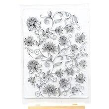 Tło z kwiatami guma wyczyść pieczęć na ozdoby do robienia kartek i scrapbooking wszystkiego najlepszego z okazji urodzin wyczyść pieczęć