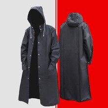 Black Stylish EVA Black Adult Raincoat Outdoor Men's Long Style Hiking Poncho Environmental Rain Coat Waterproof Rain Gear JJ