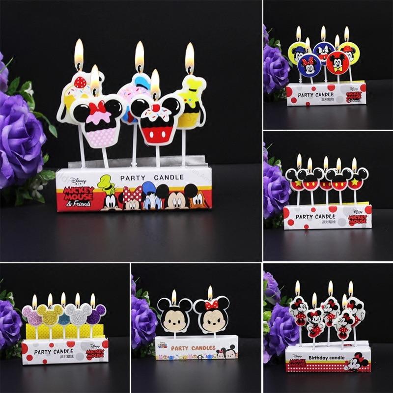 Disney, украшения для детвечерние дня рождения, свечи для торта, Мультяшные фигурки, Микки, Минни, пух, медведь, креативные свечи, подарки