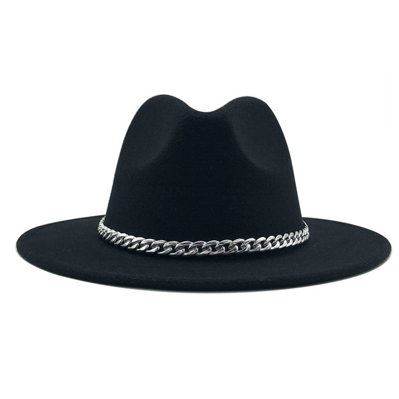 New Fashion Quality Wide Brim Fedora Hat Women Lmitation Wool Felt Hats With Metal Chain Decor Panam