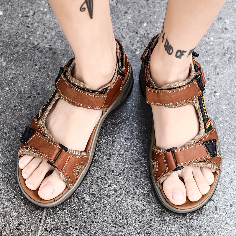 Summer Genuine Leather Men's Sandals Outdoor Lightweight Air Cushion Shoes Slip on Casual Sandal Shoes Man Sandle Big Size 46 47