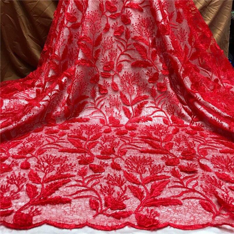 Africano francês 3d folhas tecido de renda vermelho africano tule tecido renda alta qualidade nigeriano lantejoulas rendas bordado tecido casamento