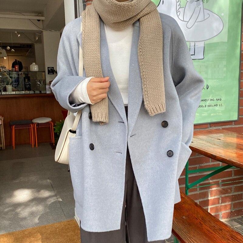 Overcoat Women Korean Gentle Temperament Suit Collar Milk Soft Blue Double Breasted Loose And Versat