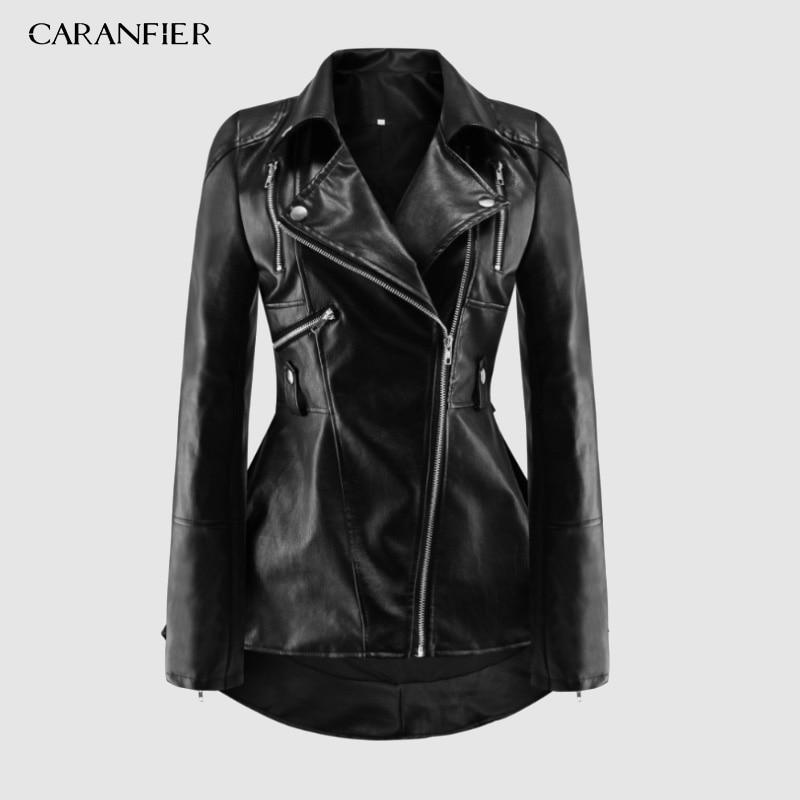 CARANFIER-سترة جلدية للدراجات النارية من البولي يوريثان للنساء ، ملابس عصرية ، ملابس خارجية ، نحيفة ، غير رسمية ، نمط قوطي ، عرض خاص