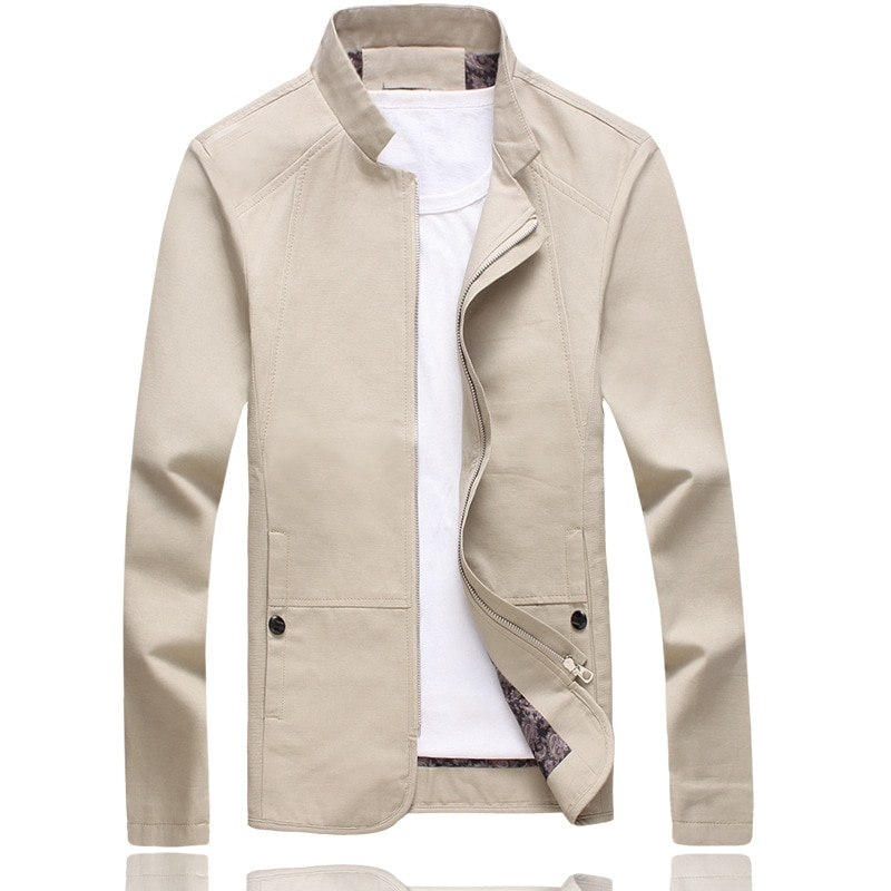 Men's spring autumn high-end fashion business casual cotton stand collar jacket Mens high quality solid color washed slim coat