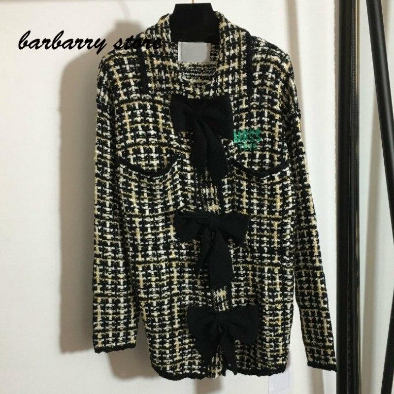 2021 luxury design bow print fashion women's top temperament Lapel versatile bright silk blended tweed long sleeve cardigan coat