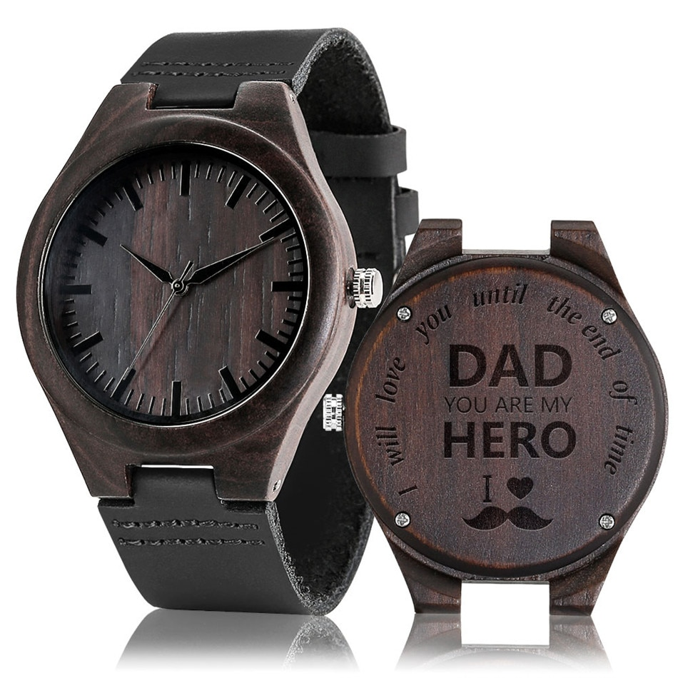 Men's Wood Timepiece Quartz Genuine Leather Watches Personalized Engraved