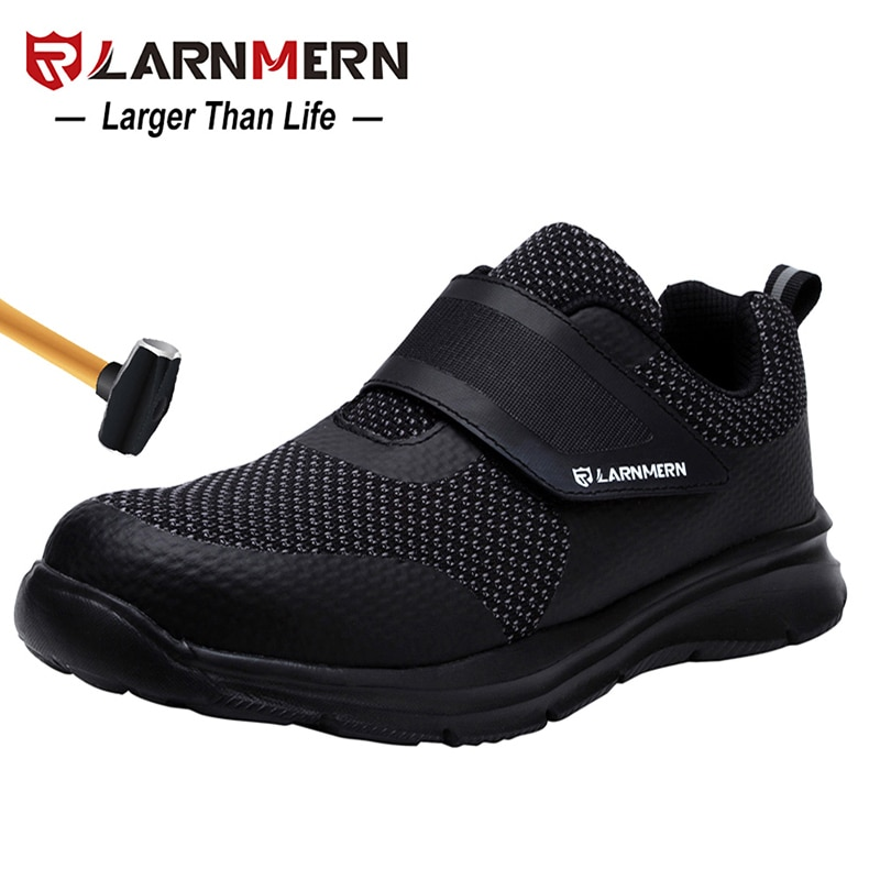 LARNMERN Mens Safety Shoes Steel Toe Construction Protective Footwear Lightweight 3D Shockproof Work Sneaker Shoes For Men