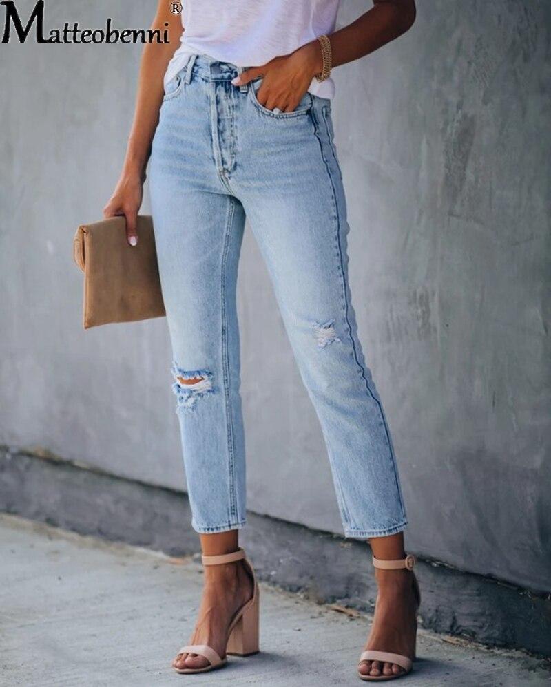 Pantalones vaqueros de cintura alta Push Up vaqueros desgastados de Calca para mujer pantalones pitillo elásticos rasgados Vintage Sexy Boyfriend Jeans