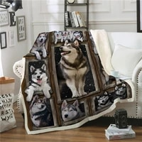 3d dog throw blanket for sofa bed pet animal printed bedspread soft warm winter fleece plush car bed cover for child kids adults