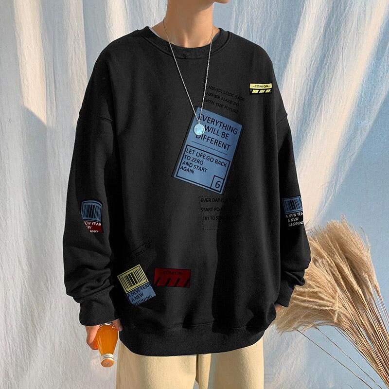 Sudadera con capucha para hombre... prenda deportiva masculina de color negro suelta...