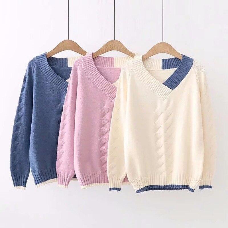 Jersey de punto japonés Mori para chica pequeño fresco a la moda, suéter femenino de manga larga con cuello en V a juego, jersey para mujer de primavera