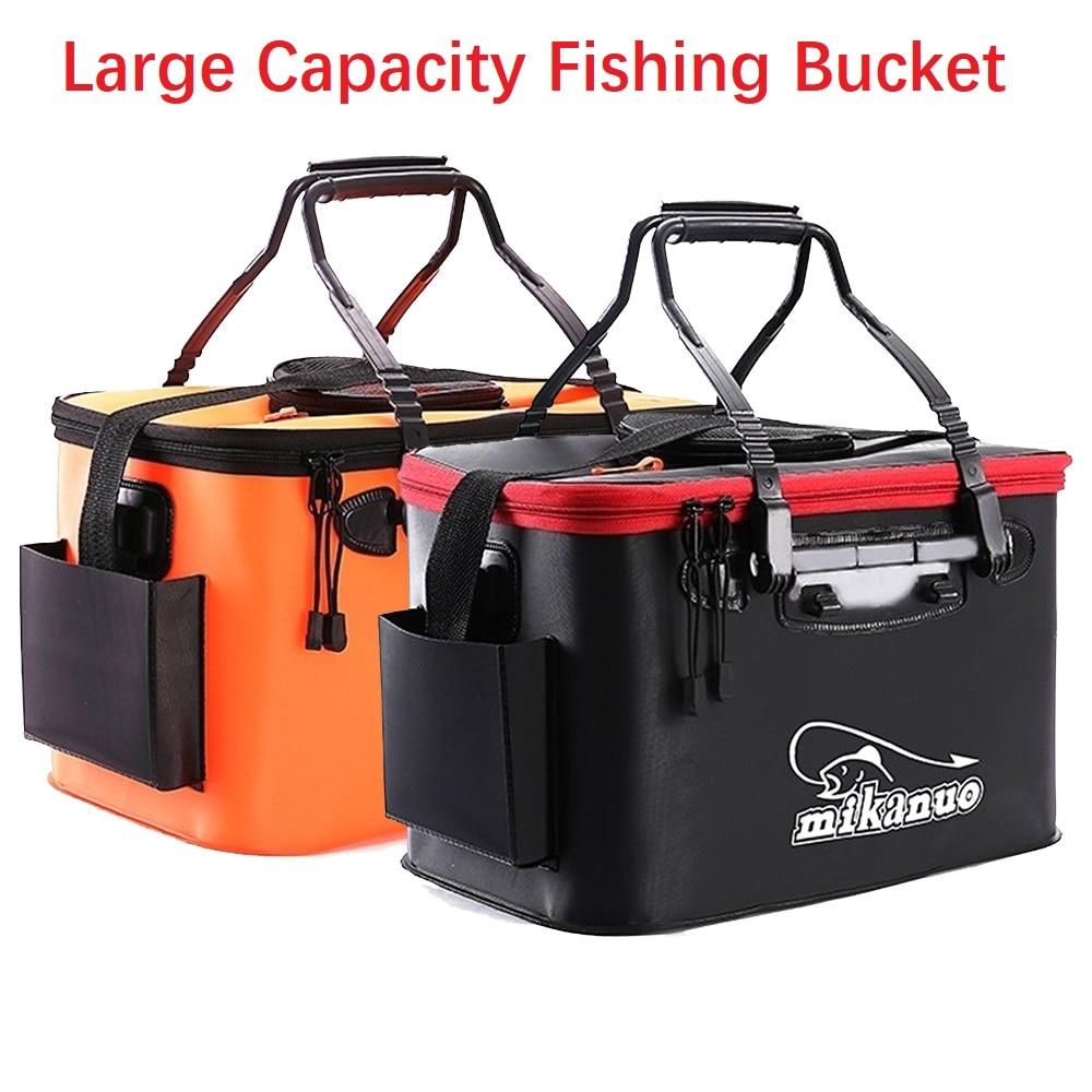 5 Sizes 11-35L  Portable Zipper live Fishing Bucket Outdoor Folding EVA Bag Live Fish Camping Hiking