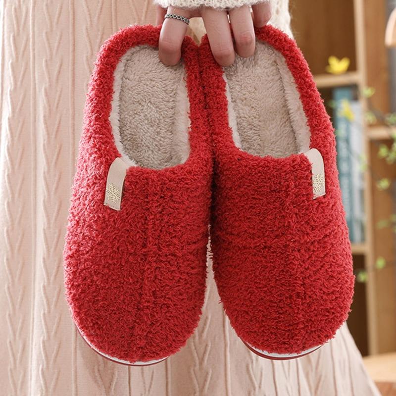 Теплые и удобные плюшевые домашние тапочки, нескользящая обувь на мягкой подошве, женская обувь для дома, зимние комнатные тапочки унисекс ...