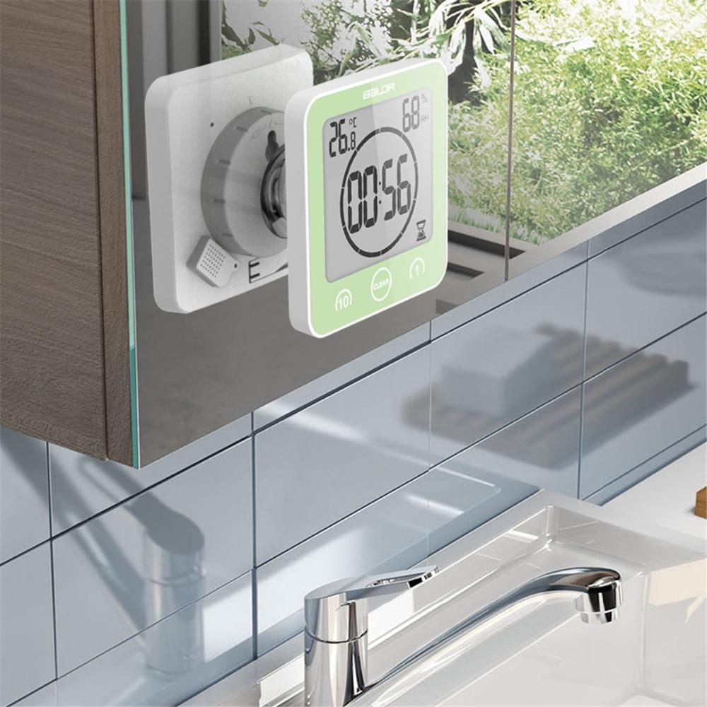 ЖК-цифровой водонепроницаемый для брызг воды настенные часы для ванной часы для душа Таймер Температура Влажность кухня для ванной комнаты таймеры