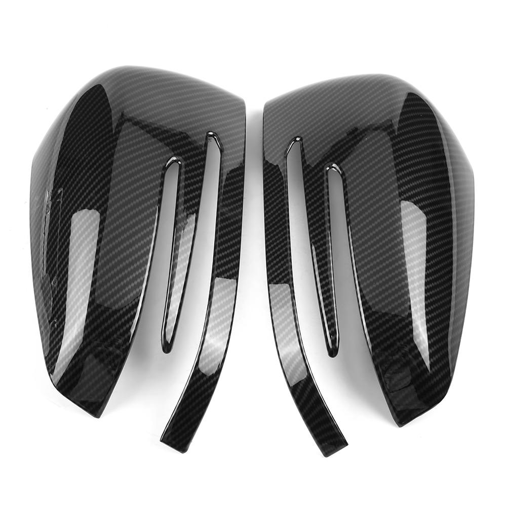 1 Pair Carbon Fiber left right Side Rear View Mirror Cap Cover Trim ABS Plastic Fit For Mercedes Benz A B C GLA Class W204 W212