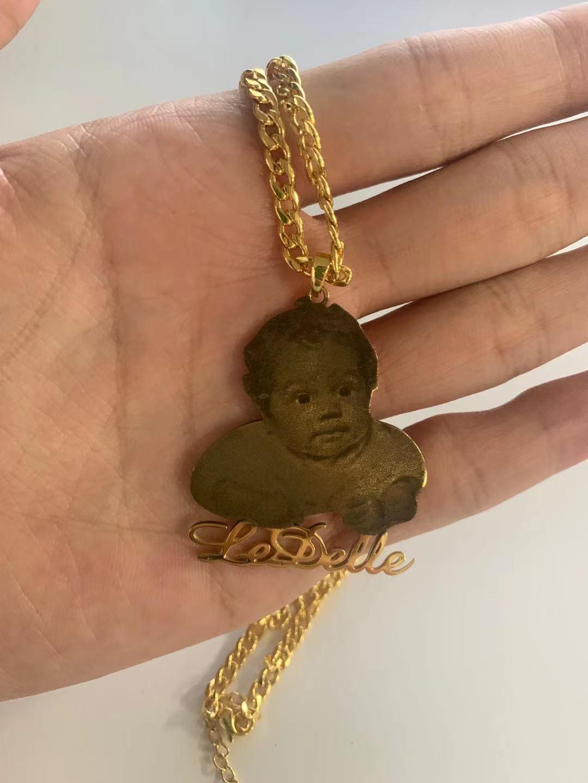 Индивидуальное ожерелье с фото индивидуальное название ожерелья с выгравированным изображением название ювелирные изделия из нержавеюще...