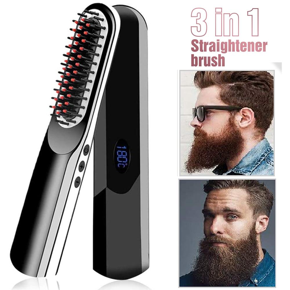 Wireless Men Quick Beard Straightener Hair Style Comb LCD Multifunctional Cordless USB Charging Hair