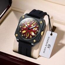 Brand Hollow Automatic Mechanical Watch Men Luxury Big Dial Luminous Wrist Watches Clock Rubber Stra