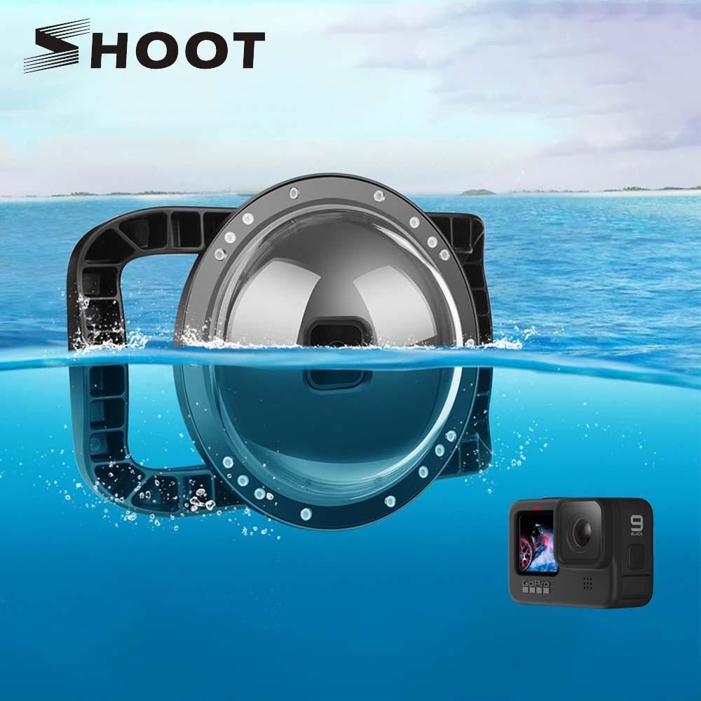 تبادل لاطلاق النار ل GoPro 10 9 الغوص قبة ميناء مع مقبض مزدوج الزناد تحت الماء الإسكان غطاء مقاوم للماء ل GoPro بطل 10 أسود