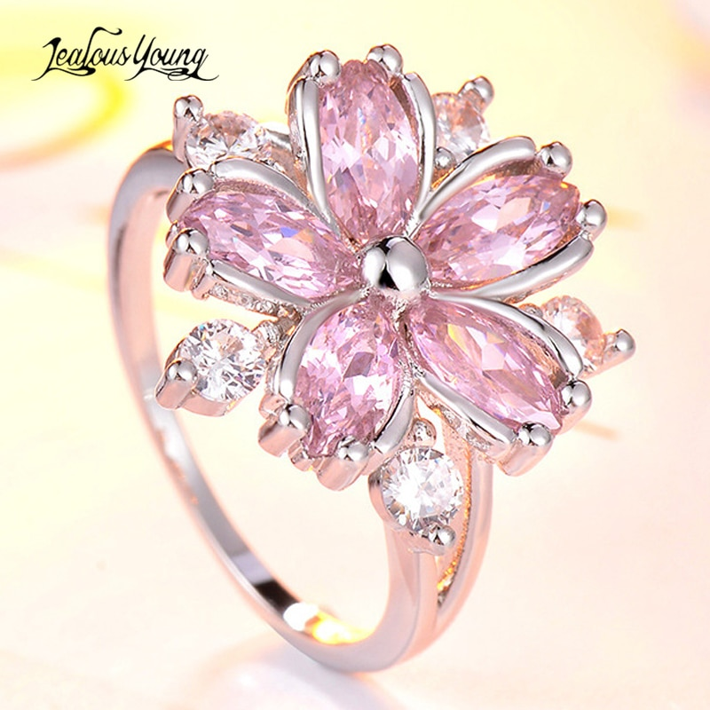 Cute Romantic Pink Flower Women Wedding Rings with Silver Color Crystal Promise Engagement Ring for Women Party Jewelry Gift