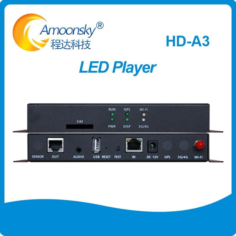 Huidu غير المتزامن تحكم HD-A3 HD-A4 HD-A5 HD-A6 LED فيديو Dislay و صندوق التشغيل مع USD WIFI يمكن توسيع 3G 4G