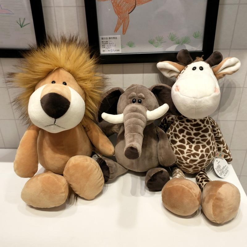 25cm Forest Animals Stuffed Plush Doll Toys Kids Giraffe Elephant Monkey Lion Tiger Plush Animal Toys Children Birthday Gifts