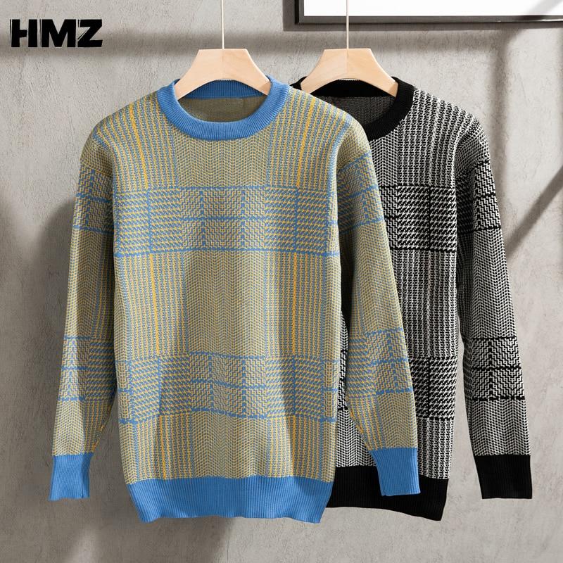 Модный корейский пуловер HMZ, свободные свитера, мужские свитера с узором, свободные свитера с круглым вырезом, мужской Клетчатый пуловер, Му...