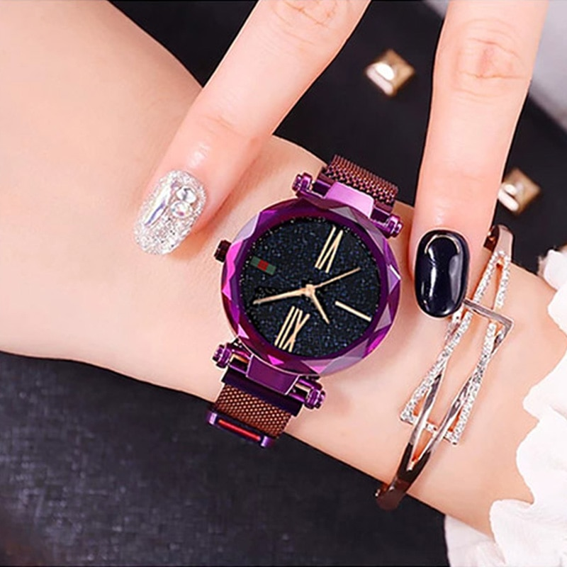 Luxury Rose Gold Women Watches Minimalism Starry Sky Magnet Buckle Fashion Casual Female Wristwatch Waterproof Roman Numeral enlarge