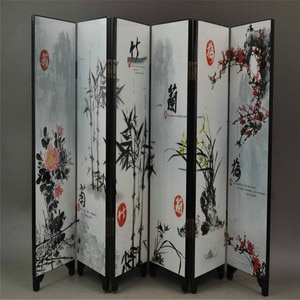 Decorated Lacquer Draw Plum Blossoms Orchid Bamboo Chrysanthemum 6 Side Screen