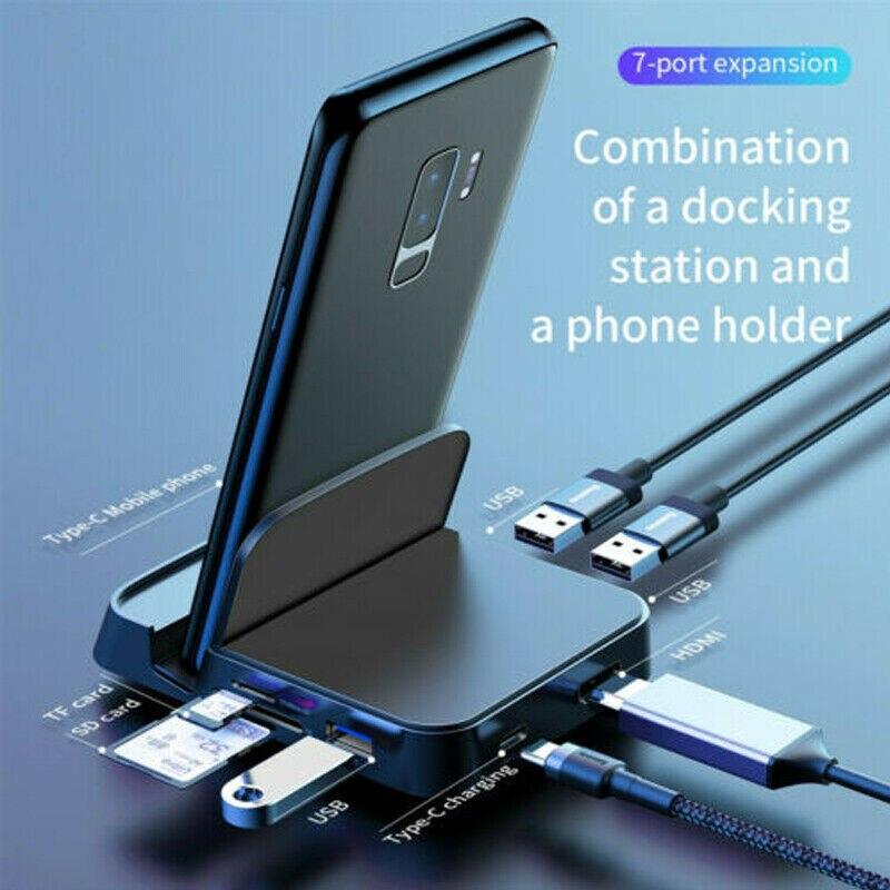 USB نوع C محور محطة الإرساء لسامسونج S20 S10 Dex سادة حوض محطة USB-C إلى HDMI متوافق PD USB 3.0 SD TF بطاقة محول