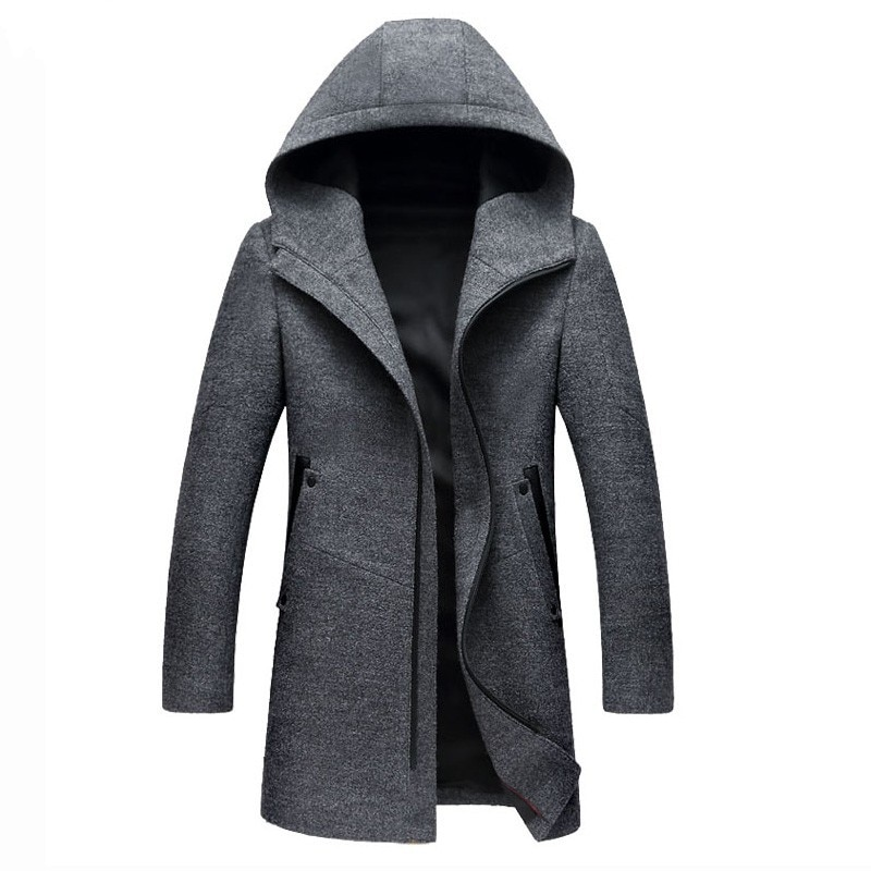 أزياء رجالي صالح سليم معاطف 2020 الشتاء جيب سستة رجل طويل معطف عارضة مقنعين قميص الصوف المعاطف زائد حجم M-3XL