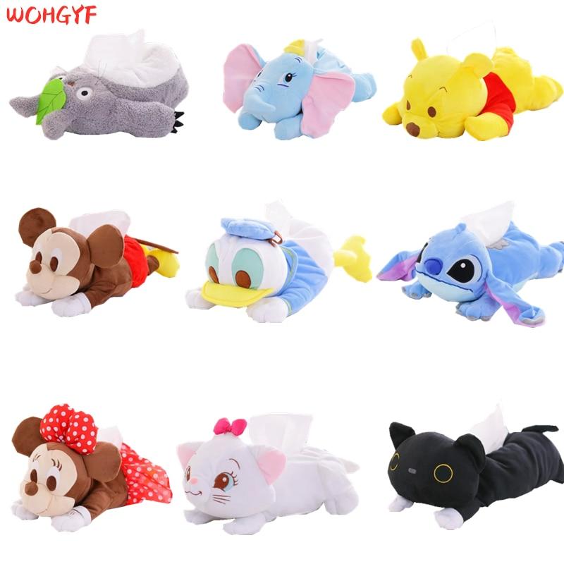 Nuevas cajas de pañuelos de felpa con diseño de oso Donald Dumbo de Dale Marie Cat, con diseño de oso, papel de animales rellenos