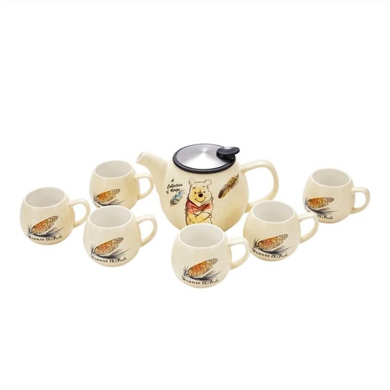 Disney Water Kettle Winnie the Pooh Cartoon Cup sets Coffee Milk Tea Breakfast Ceramic Mug Home Office Collection Tableware