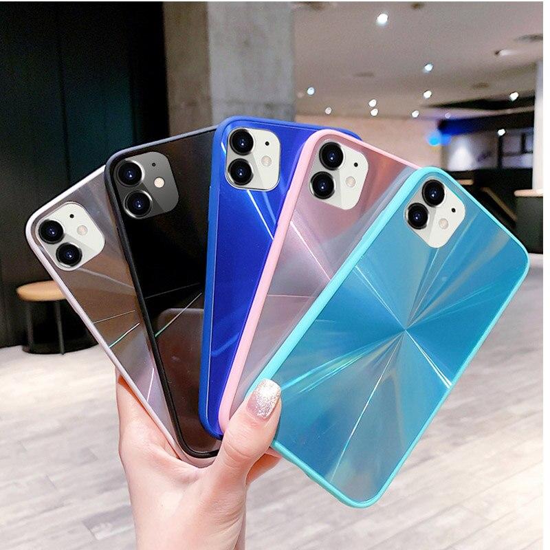 Funda de teléfono con espejo de textura de diamante para iphone 11 Pro Max X XR Xs Max 7 8Plus 6s 6 plus bonita funda trasera suave de TPU a prueba de golpes
