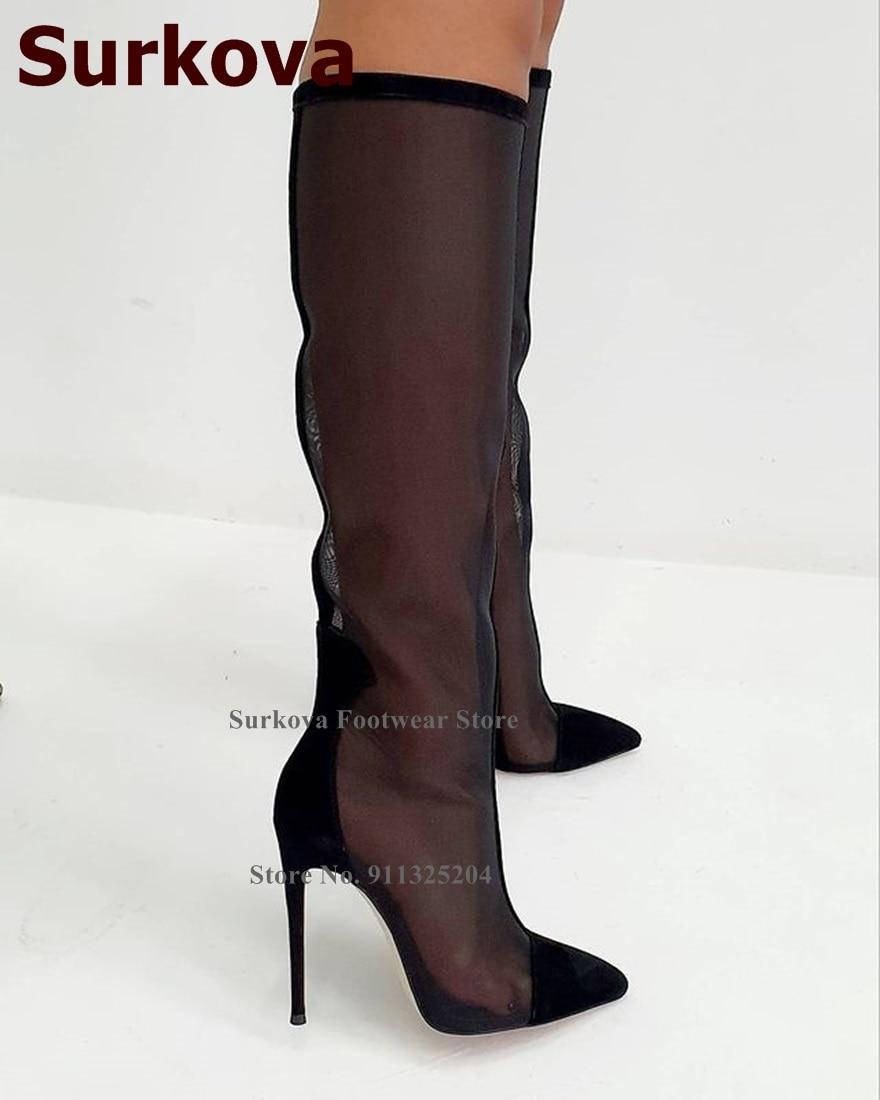 Surkova مثير شبكة سوداء الركبة الأحذية خنجر الكعوب الجلد المدبوغ أشار تو المرقعة طويل القامة أحذية شفافة المرحلة فستان مضخات Size46