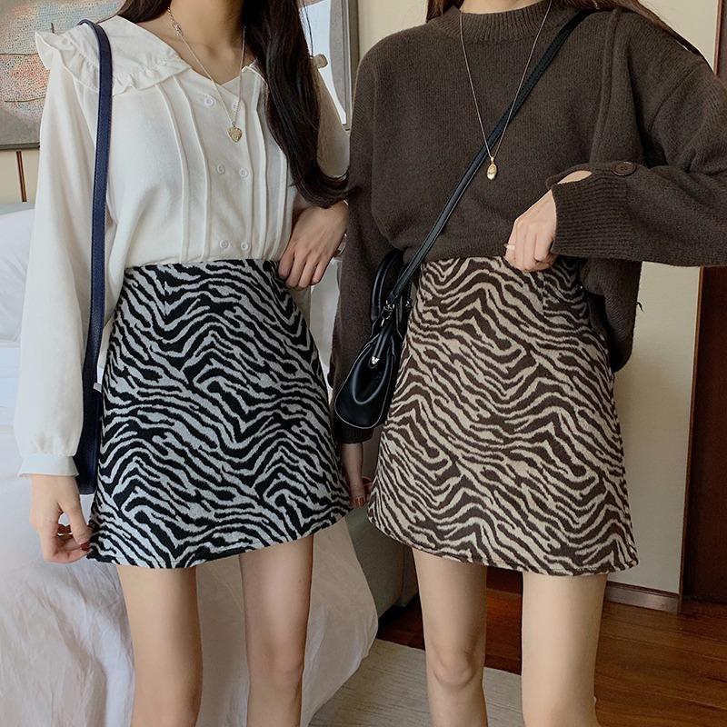 Autumn Winter Zebra-stripe WOMEN'S Dress Mini Skirt Leopord Pattern High-waisted Short Skirt Sheath Woman Skirt Sexy Nightclub