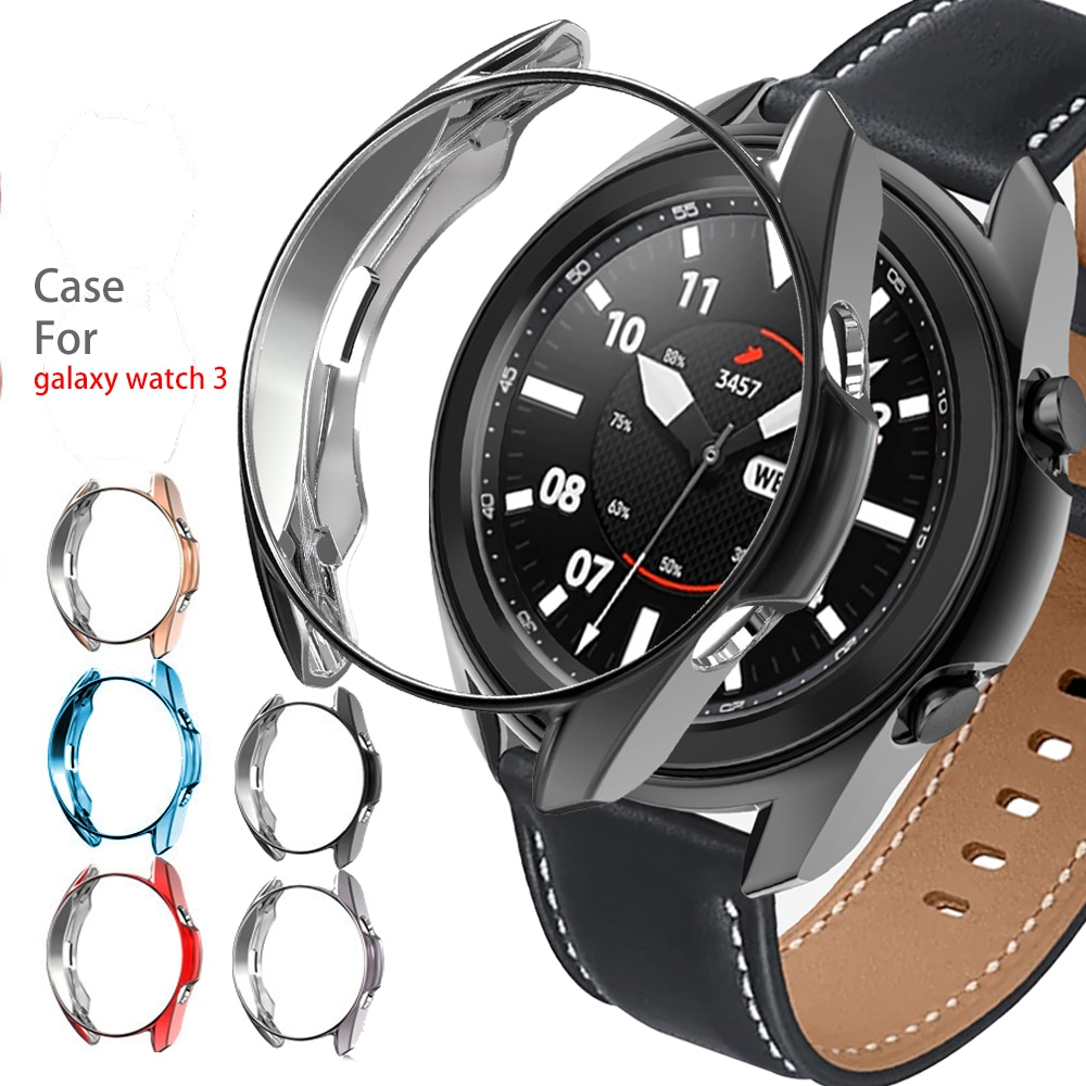Funda para Samsung Galaxy watch 3 45mm 41mm samrtwatch parachoques TPU suave plateado 41 45mm accesorios de cubierta protectora de reloj inteligente